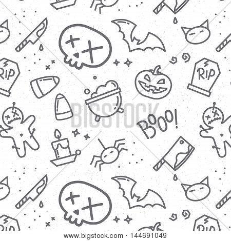Halloween pattern skull drawing in flat style