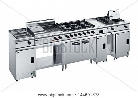 Kitchen equipment steel chrome for cooking. 3D graphic
