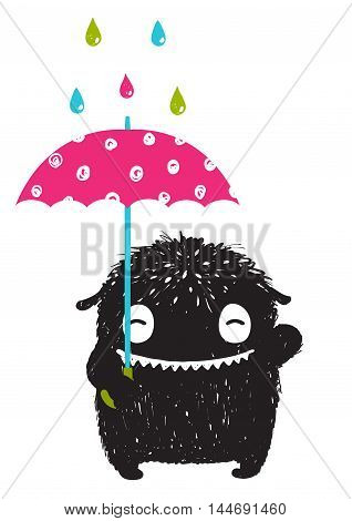 Happy funny childish little monster with umbrella in the rain for children cartoon illustration. Vector drawing.