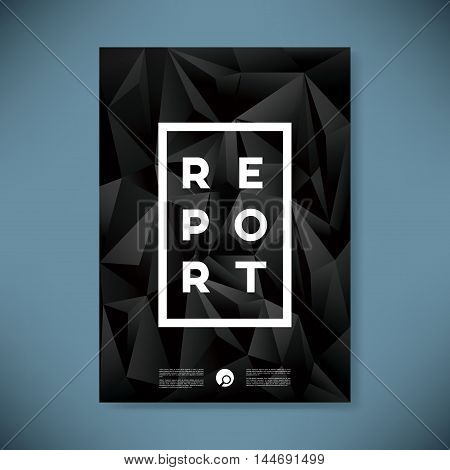 Business annual report cover vector illustration with black low polygonal background. Eps10 vector illustration