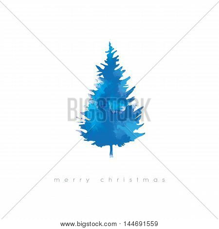 Christmas tree vector illustration with watercolor texture. Cold blue winter artistic xmas card template. Eps10 vector illustration.