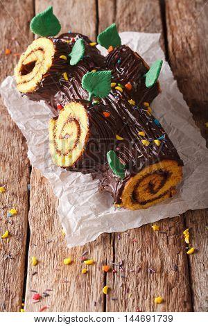 Homemade Buche De Noel, Chocolate Yule Log Christmas Cake. Vertical
