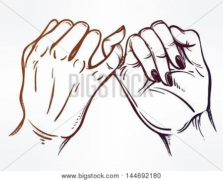 Pinky promise, hand holding. Vector illustration isolated. Tattoo design, trendy friendship symbol for your use.