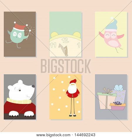 Cute Vector Cards, Notes, Stickers, Labels, Tags with Winter Christmas Illustrations and Wishes. Template for New Year Greeting Scrap booking, Congratulations, Invitations. Vertical Card.