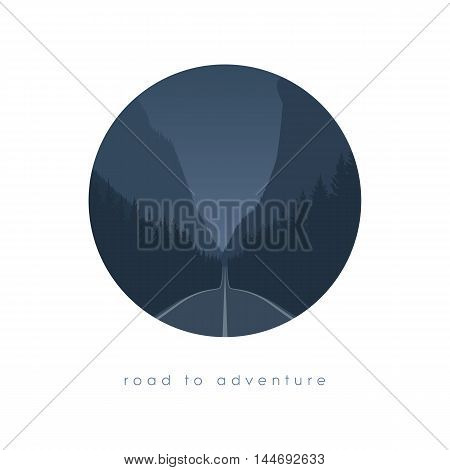 Road to nowhere concept with freeway leading to forest and canyon or valley. Traveling to nature. Escape or new beginning adventure concept. Eps10 vector illustration.