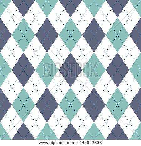 Seamless argyle pattern in bluish green, gray blue & white with blue stitch.