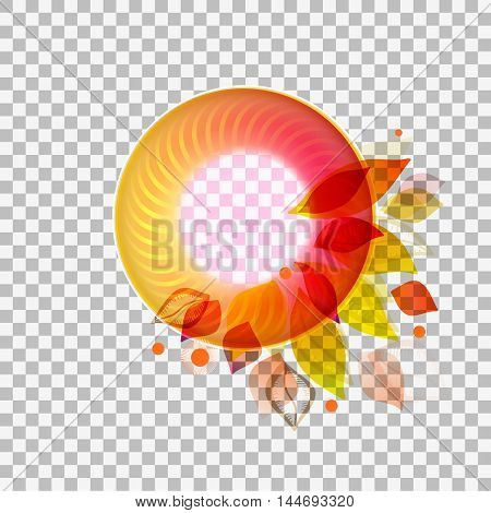 Modern design circle banner with abstract leaves at transparent background. Seasonal autumn style. Vector illustration.