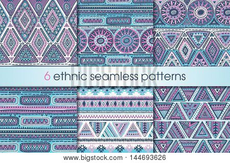 Set of six colorful vector seamless patterns with hand drawn ethnic elements. Geometric design with triangle forms and stripes. Folk motif for print, web, textile, wrapping paper