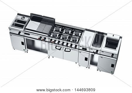 Kitchen equipment metal furniture for cooking. 3D graphic