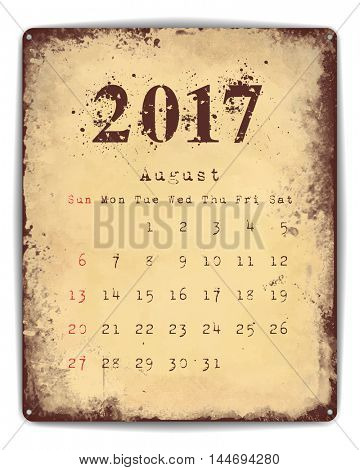 A retro style tin and enamel signboard with monthly calendar for August 2017. EPS10 vector format.
