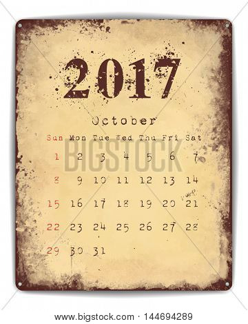 A retro style tin and enamel signboard with monthly calendar for October 2017. EPS10 vector format.