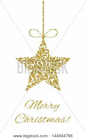 Elegant Greeting card. Merry Christmas! Star from abstract floral ornament with golden glitter isolated on a white background