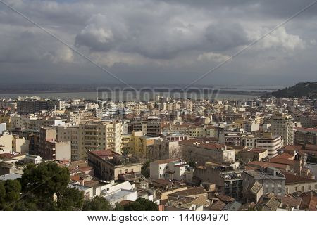 Cagliari: city landscape, in the background you see the pond of Molentargius - Sardinia