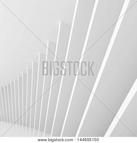 Abstract Architecture Design. White Modern Background. Modern Minimal Building Construction. Column Wallpaper. 3d Rendering