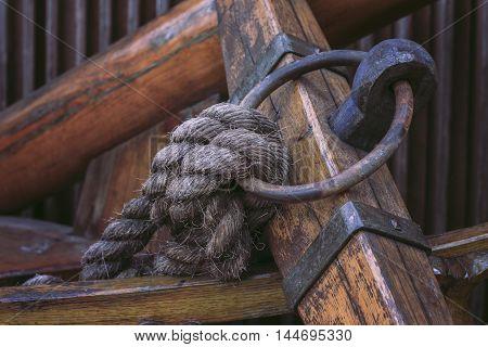 Blocks and rigging at the old sailboat close-up