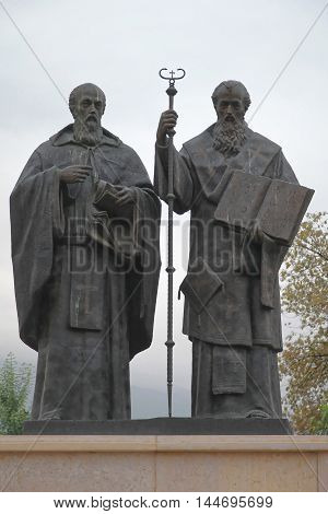 SKOPJE MACEDONIA - SEPTEMBER 16: Saints Cyril and Methodius Monument in Skopje on SEPTEMBER 16 2012. Bronze Statues of Educators and Missionaries Saint Cyril and Methodius in Skopje Macedonia.