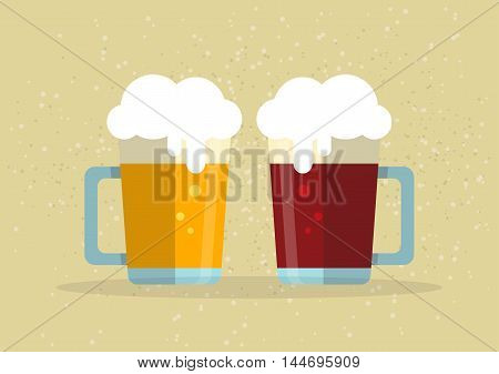 Two stylized beer mugs on a beige background. Flat design.