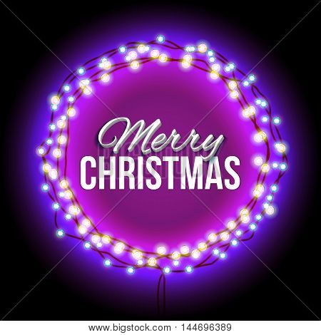 Christmas greetings in a circular frame of garlands. Round frame with glowing lights of rlilac. Background on sale, discounts, promotions. Seasonal advertising. Suitable for printing, mailing