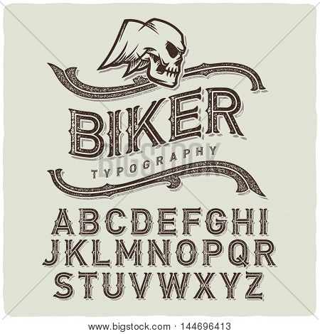 Biker style dirty letters alphabet with wings skull emblem.