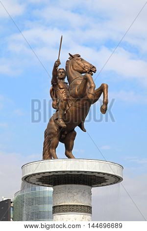 SKOPJE MACEDONIA - SEPTEMBER 17: Warrior on a Horse in Skopje on SEPTEMBER 17 2012. Alexander the Great Equestrian Statue in Skopje Macedonia.