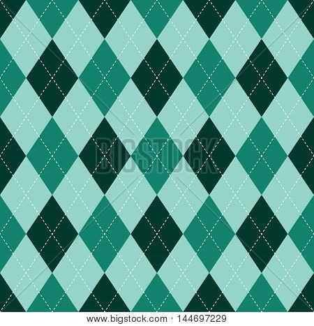 Seamless argyle pattern in shades of dark, teal & turquoise green.