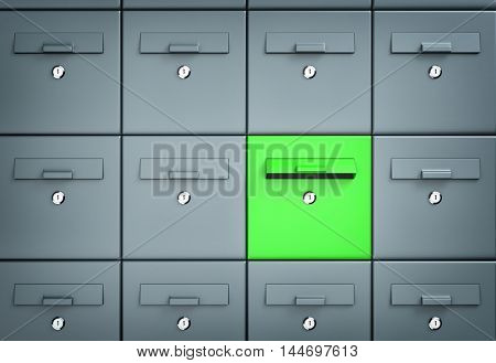 Many mailboxes one of which is green. 3d illustration