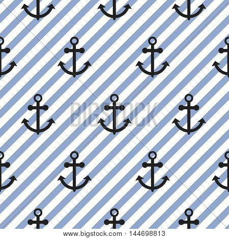 Seamless vector pattern with nautical anchors. Sea theme anchor repeat blue diagonal stripe background.