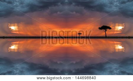 Art Study Of Landscape In Masai Mara With The Mirror Effect.