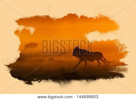 Silhouette Of A Wildebeest With Art Work.
