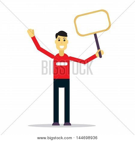 Flat stylized happy man with banner on a white background.