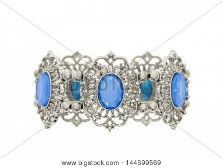 Bracelet with blue stones isolated on white
