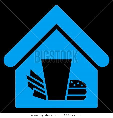 Fastfood Cafe icon. Vector style is flat iconic symbol, blue color, black background.