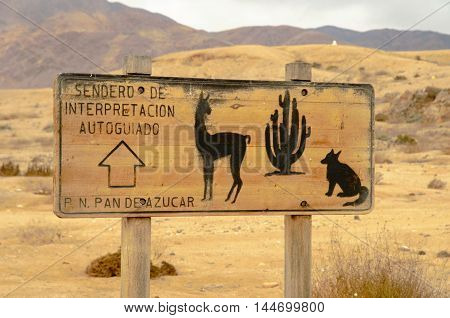 Closeup of a sign showing a cactus, llama and fox in the desert of the National Park Pan de Azucar close to Chanaral in Chile, South America