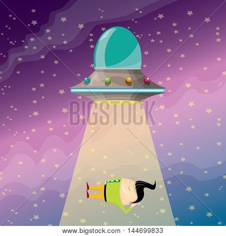 vector sleeping businessman abducted by UFO. vector funny cartoon ufo stealing man.
