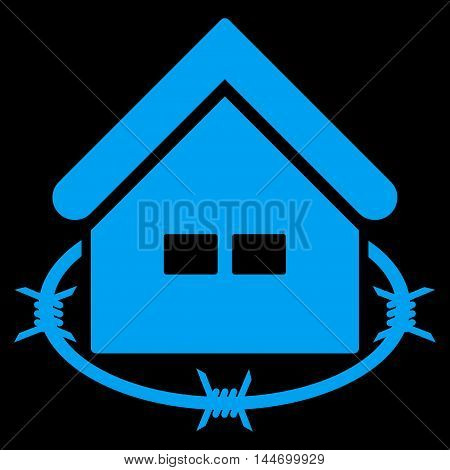 Prison Building icon. Vector style is flat iconic symbol, blue color, black background.