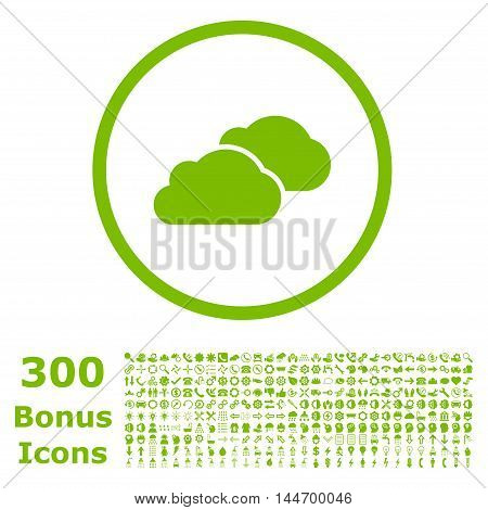 Clouds rounded icon with 300 bonus icons. Glyph illustration style is flat iconic symbols, eco green color, white background.
