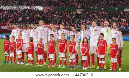 VIENNA, AUSTRIA - SEPTEMBER 5, 2015: The team of Austria poses before an European Championship qualification game.
