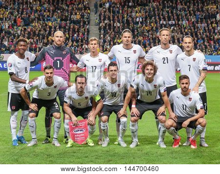STOCKHOLM, SWEDEN - SEPTEMBER 8, 2015: The team of Austria poses before an European Championship qualification game.