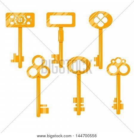 Keys gold vector cartoon illustration. Isolated vintage keys on white. Key icon set.