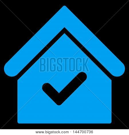 Valid House icon. Vector style is flat iconic symbol, blue color, black background.