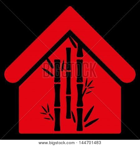 Bamboo House icon. Vector style is flat iconic symbol, red color, black background.