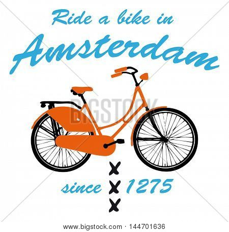 2d illustration of a bicycle and the text ride a bike in Amsterdam