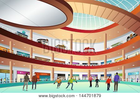 A vector illustration of people ice skating in an indoor mall