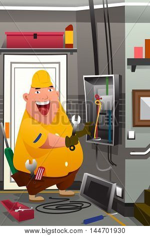 A vector illustration of electrician working in front of fuse switch board