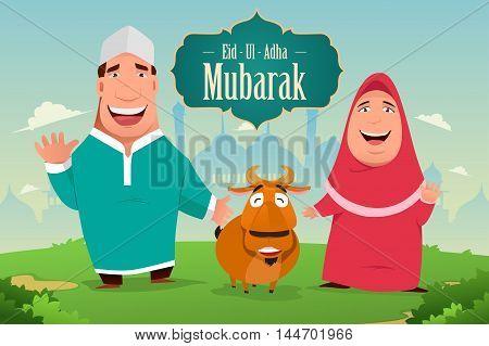 A vector illustration of eid-ul-adha Mubarak greeting card design