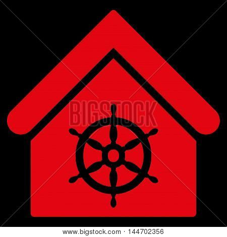 Steering Wheel House icon. Vector style is flat iconic symbol, red color, black background.