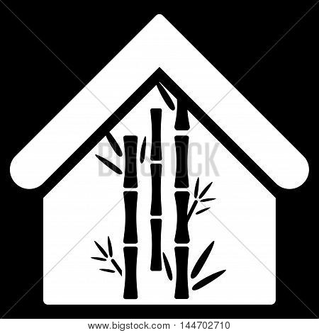Bamboo House icon. Vector style is flat iconic symbol, white color, black background.