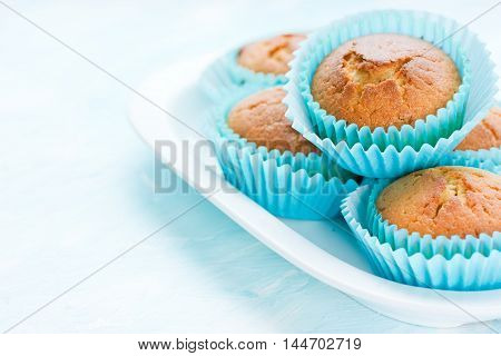 Fresh homemade muffins blank space for text selective focus