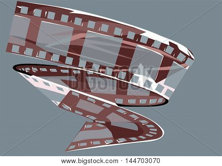 film strip. a reel of film on blue background