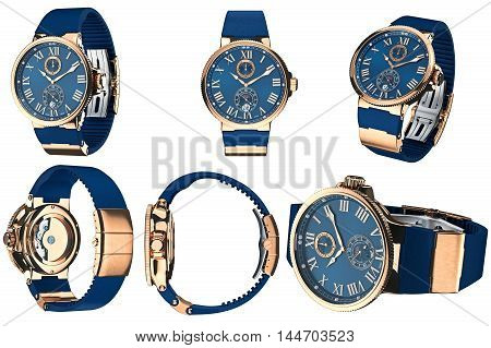 Wrist watch accessory golden mechanical set. 3D graphic